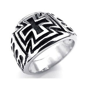 Mens Iron cross ring, size 12, Flames design.