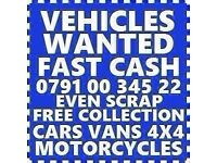 ALL CARS VANS WANTED COLLECT TODAY CASH WAITING SCRAP NO MOT DAMAGED
