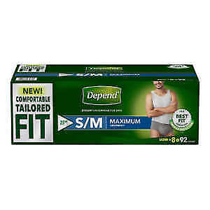 Depend Protective Underwear Men Large S/M 72 Count