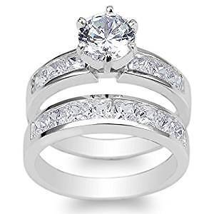 STERLING SILVER CHANNEL SET RINGS CZ SIZE 5,5