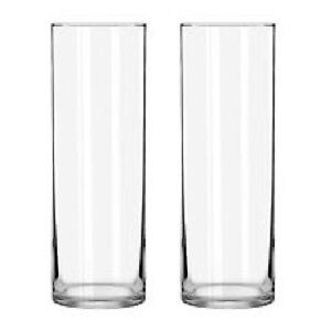 "Pair of MATCHING Cylindrical 9.5"" Glass Vases, Rounded Edge"