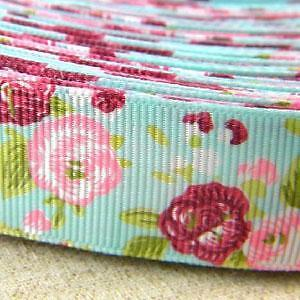 1-5-Yards-Peony-Flower-Grosgrain-Ribbon-Sewing-Craft-G