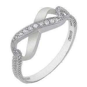 engagement cz symbol rings infinity diamond bands band silver sterling