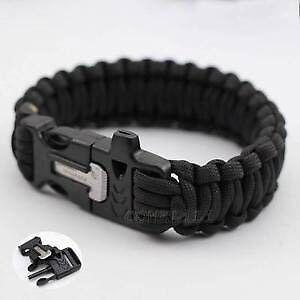 Survival paracord bracelet with fire starter