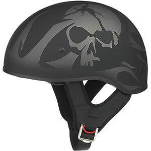 New Half Helmet Skull Flames on Matte Black