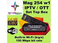 HD IPTV BOX-MAG 254 W1-BETTER THAN ANY SAT BOX-NO DISH NEEDED+12 MTHS-SMART TV/OPENBOX