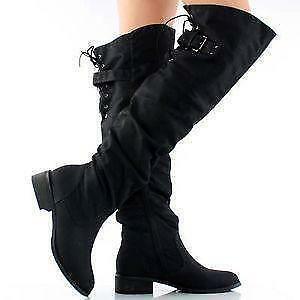 Over The Knee Boots - Flat, Black, Wide Calf, Leather | eBay