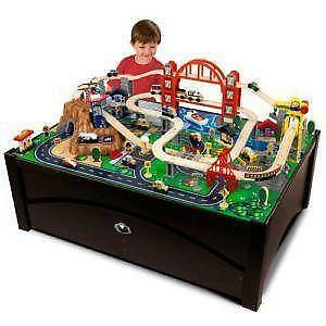 Train table ebay for 100 piece mountain train set and wooden activity table