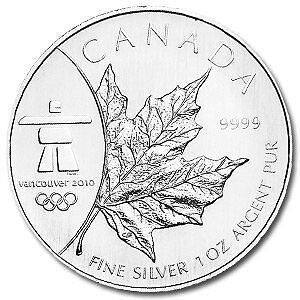 2008 Olympic Inukshuk silver Maple leaf (.9999)
