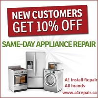 SameDay24/7 All brand Appliance Repair Install free check$60off