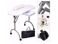 Beauty therapist massage bed. Trolley case & nail bar station