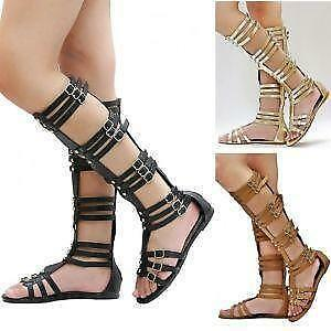 Gladiator Sandals - Knee-High, Tall, Gold, Black | eBay