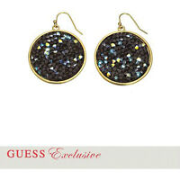 GUESS Gold Tone Crystal Disc Earrings