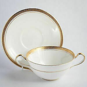 12 SOUP CUPS & SAUCERS - ELIZABETH BY AYNSLEY