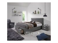 Fabric Double/Kingsize Bed Frame with 4 Storage Drawers