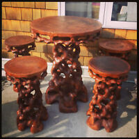 Tiki Bar & 4 Stools - hand carved