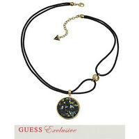 GUESS Gold Tone Crystal Disc Pendant Necklace
