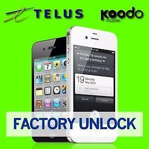 Apple iPhone Telus Koodo iPhone Unlock Service FAST 24 HOURS OR LESS - ALL MODELS - CLEAN IMEI Only