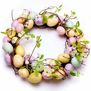 easter egg and blossom wreath