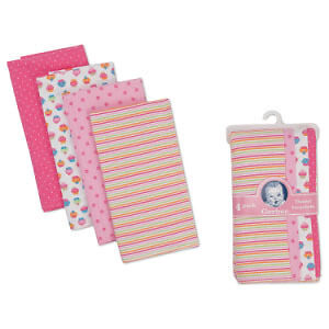 Gerber Flannel Burp Cloths - 4 pack Girls Colors