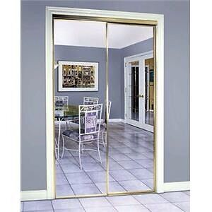 Brass mirror sliding door Porte miroir coulissante laiton 48""