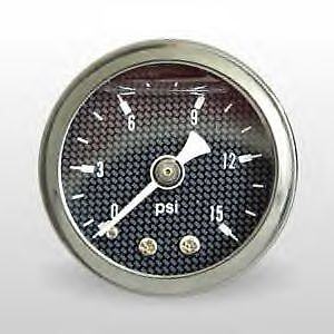 Marshall 0-15 PSI Fuel Pressure Carbon Fiber Look Face Liquid Filled Gauge 1.5""