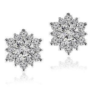 Diamond Flower Cer Earrings
