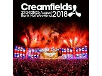 2 Creamfields 2018 GOLD Camping Tickets