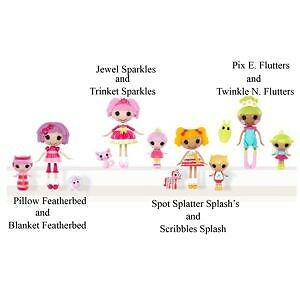 Lot 4 Mini Lalaloopsy Littles Jewel Pix Spot Pillow New