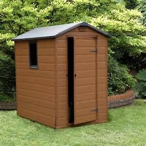 B Q Plastic Garden Shed In Brown 6 X 4 16 Months
