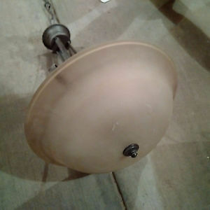 Bronze Hooked Hanging Pendant light with frosted glass