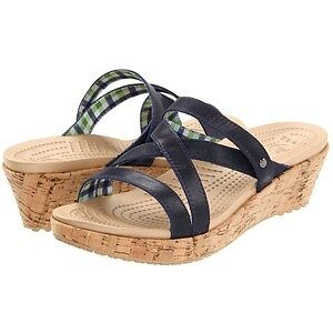 CROCS womens A-LEIGH mini leather WEDGE sandal slide shoes