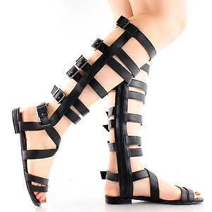 a860b3dc5b15 Knee Flat Gladiator Sandals