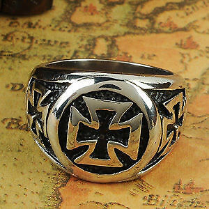 Mens thick iron cross ring, size 12
