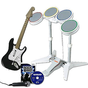 Wii Rockband Drums and Game only + Guitar Hero Game.