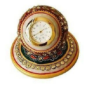 Decorative Excl. HANDCRAFT ART Marble Table Clock & Phone Stand