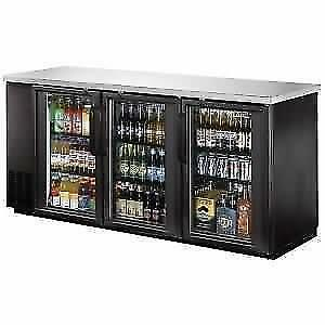 Back Bar Cooler, Glass Door, 72 - Stainless Steel Top and LED . *RESTAURANT EQUIPMENT PARTS SMALLWARES HOODS AND MORE*