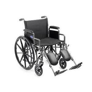 Self Transport Folding Wheelchair with Footrests.