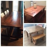 Rustic Harvest Table Custom Made and Bench