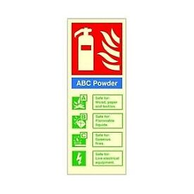 🔥FIRE EXTINGUISHER ABC POWDER SIGNS GLOW IN THE DARK 300mm x 200mm RIDGID PLASTIC £1 EACH