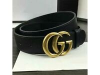Men/Womens Gucci GG Belt - Black with Gold Buckle - size 32-34 inch - c an be made smaller