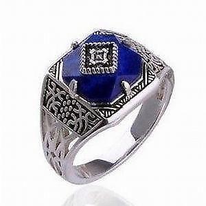 Lapis Lazuli Mens Ring Silver