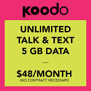 Koodo $48/month Unlimited 5GB LTE Data Plan