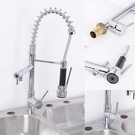BRAND NEW BOXED Double Head Monobloc Pull Out Spray Kitchen Spray Tap Swivel Mixer Fauce