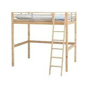 IKEA CHILDREN'S LOFT BED FRAME AND LADDER, FINISHED PINE