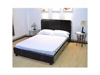 FAUX LEATHER BROWN DOUBLE BED FRAME 6 MONTHS OLD