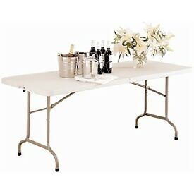 Catering Banquet Trestle Tables, White Folding Tale for parties & events, 4ft & 6ft Foldable tables