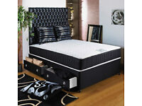 FAST DELIVERY- DOUBLE DIVAN LUXURY MEMORY FOAM BED WITH MATTRESS - SINGLE/KING AVAILABLE