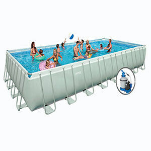 Intex 12 039 x24 039 x52 034 rectangular above ground swimming pool package 28363eg ebay for Intex rectangular swimming pool