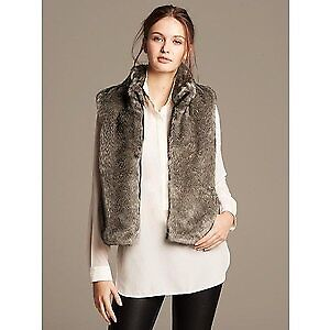 Banana republic faux fur vest brown medium